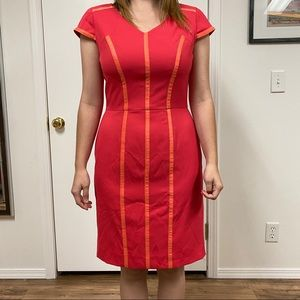 Tahari Sheath MIDI Pencil Dress Piped Career Cap
